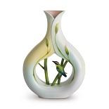 Franz Porcelain-Bamboo Song Bird vase
