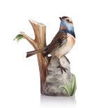 Franz Porcelain-A True Braver blue throat bird small vase
