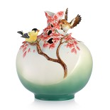 Franz Porcelain-Good Tidings from Canary canary bird porcelain vase