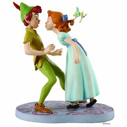 Peter Pan Peter, Wendy And Tinker Bell: I�m So Happy, I Think I�ll Give You A Kiss by WDCC Disney Classics Image is watermarked for copyright protection and is not present on the actual art work.