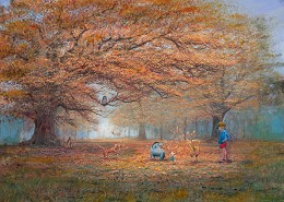 The Joy Of Autumn Leaves - From Disney Winnie the Pooh by Peter / Harrison Ellenshaw Image is watermarked for copyright protection and is not present on the actual art work.